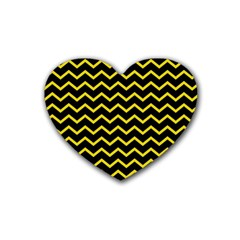 Yellow Chevron Heart Coaster (4 Pack)  by jumpercat
