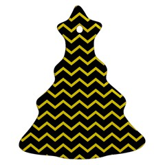 Yellow Chevron Ornament (christmas Tree)  by jumpercat