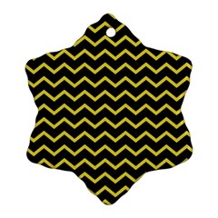 Yellow Chevron Snowflake Ornament (two Sides) by jumpercat