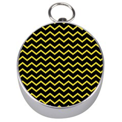 Yellow Chevron Silver Compasses by jumpercat