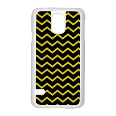 Yellow Chevron Samsung Galaxy S5 Case (white) by jumpercat