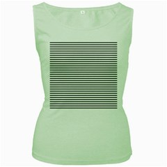 Basic Horizontal Stripes Women s Green Tank Top