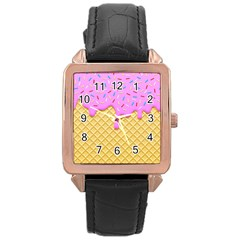 Strawberry Ice Cream Rose Gold Leather Watch