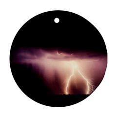 Storm Weather Lightning Bolt Round Ornament (two Sides) by BangZart
