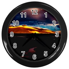 India Sunset Sky Clouds Mountains Wall Clocks (black)