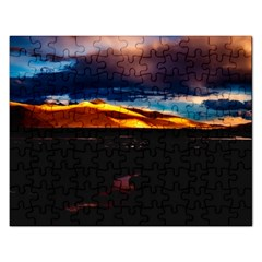 India Sunset Sky Clouds Mountains Rectangular Jigsaw Puzzl by BangZart
