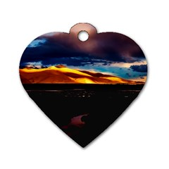 India Sunset Sky Clouds Mountains Dog Tag Heart (one Side) by BangZart