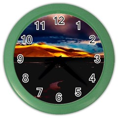 India Sunset Sky Clouds Mountains Color Wall Clocks