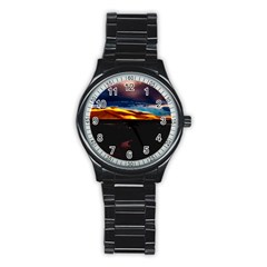 India Sunset Sky Clouds Mountains Stainless Steel Round Watch by BangZart