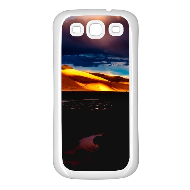 India Sunset Sky Clouds Mountains Samsung Galaxy S3 Back Case (White)