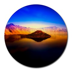 Crater Lake Oregon Mountains Round Mousepads by BangZart