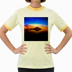Crater Lake Oregon Mountains Women s Fitted Ringer T Shirts