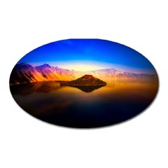 Crater Lake Oregon Mountains Oval Magnet by BangZart
