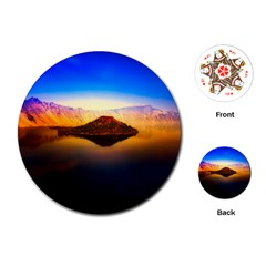 Crater Lake Oregon Mountains Playing Cards (round)  by BangZart