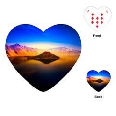 Crater Lake Oregon Mountains Playing Cards (heart)  by BangZart