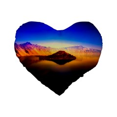 Crater Lake Oregon Mountains Standard 16  Premium Heart Shape Cushions by BangZart