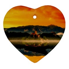 Bled Slovenia Sunrise Fog Mist Ornament (heart) by BangZart
