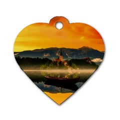 Bled Slovenia Sunrise Fog Mist Dog Tag Heart (two Sides) by BangZart