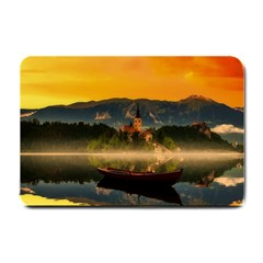 Bled Slovenia Sunrise Fog Mist Small Doormat  by BangZart