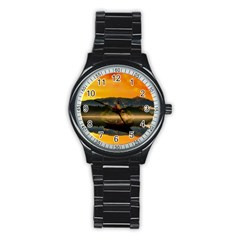 Bled Slovenia Sunrise Fog Mist Stainless Steel Round Watch by BangZart