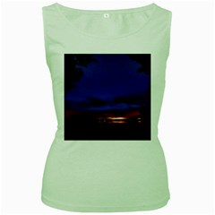 Canada Lake Night Evening Stars Women s Green Tank Top by BangZart