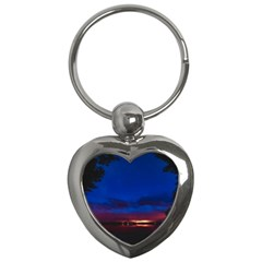Canada Lake Night Evening Stars Key Chains (heart)