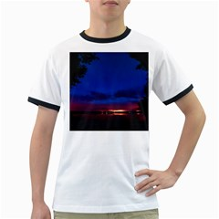 Canada Lake Night Evening Stars Ringer T Shirts by BangZart
