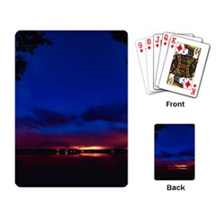 Canada Lake Night Evening Stars Playing Card