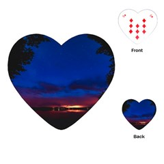 Canada Lake Night Evening Stars Playing Cards (heart)