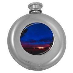 Canada Lake Night Evening Stars Round Hip Flask (5 Oz) by BangZart