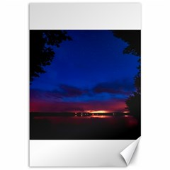 Canada Lake Night Evening Stars Canvas 12  X 18   by BangZart