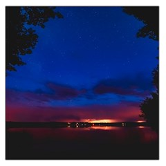 Canada Lake Night Evening Stars Large Satin Scarf (square) by BangZart