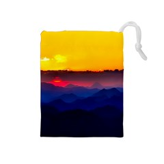 Austria Landscape Sky Clouds Drawstring Pouches (medium)