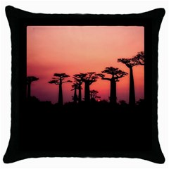 Baobabs Trees Silhouette Landscape Throw Pillow Case (black)