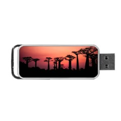 Baobabs Trees Silhouette Landscape Portable Usb Flash (two Sides) by BangZart