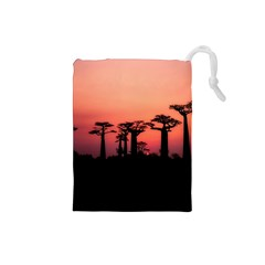 Baobabs Trees Silhouette Landscape Drawstring Pouches (small)  by BangZart