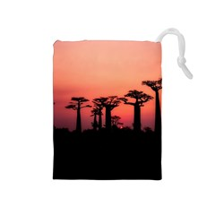 Baobabs Trees Silhouette Landscape Drawstring Pouches (medium)