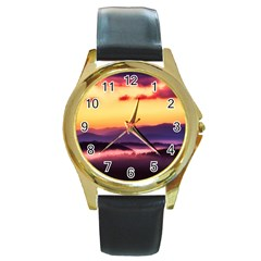 Great Smoky Mountains National Park Round Gold Metal Watch