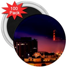 San Francisco Night Evening Lights 3  Magnets (100 Pack) by BangZart