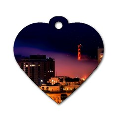 San Francisco Night Evening Lights Dog Tag Heart (two Sides)