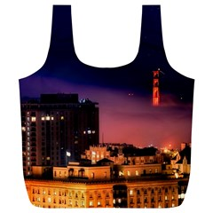 San Francisco Night Evening Lights Full Print Recycle Bags (l)