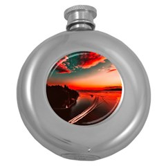 Sunset Dusk Boat Sea Ocean Water Round Hip Flask (5 Oz) by BangZart