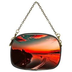 Sunset Dusk Boat Sea Ocean Water Chain Purses (two Sides)
