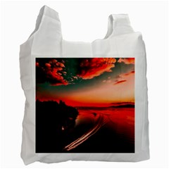Sunset Dusk Boat Sea Ocean Water Recycle Bag (one Side)