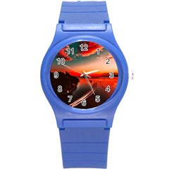 Sunset Dusk Boat Sea Ocean Water Round Plastic Sport Watch (s) by BangZart