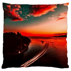 Sunset Dusk Boat Sea Ocean Water Large Cushion Case (one Side)