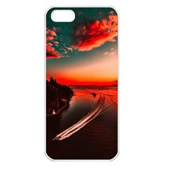 Sunset Dusk Boat Sea Ocean Water Apple Iphone 5 Seamless Case (white) by BangZart