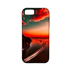 Sunset Dusk Boat Sea Ocean Water Apple Iphone 5 Classic Hardshell Case (pc+silicone)