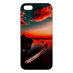 Sunset Dusk Boat Sea Ocean Water Apple Iphone 5 Premium Hardshell Case by BangZart