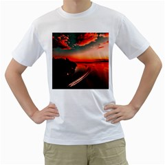 Sunset Dusk Boat Sea Ocean Water Men s T Shirt (white)